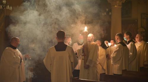 Wigilia Paschalna w Sanktuarium Bożego Miłosierdzia, Kraków-Łagiewniki, 3 kwietnia 2021